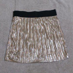 ESTAM Gold/Black Metallic Pleated Mini Skirt (M)